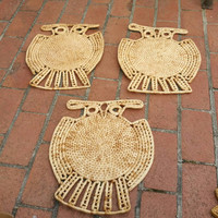 Vintage Rattan /Wicker Owl Wall hangings Set of 3,Owl Wall Decor