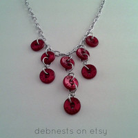 Statement Necklace with Dark Red Buttons and Silver Chain