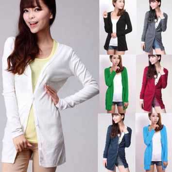 New Womens Casual Knitwear Cardigan Shirt Coat Jacket Long Sweater Outwear Wraps