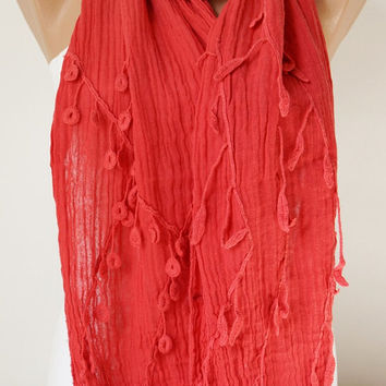 Hand Dyed Red Color Scarf from %100 cotton with flora desing
