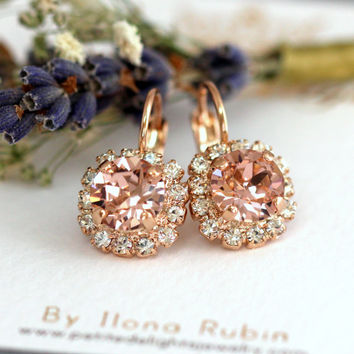 Blush Drop Earrings, Rose Gold Blush Drop Earrings, Bridal Blush Earrings, Swarovski Drop Earrings, Bridesmaids Earrings, Pink Blush drops