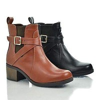 Lawler By Classified, Round Toe Strappy Buckle Elastic Ankle Block Stacked Heel Bootie
