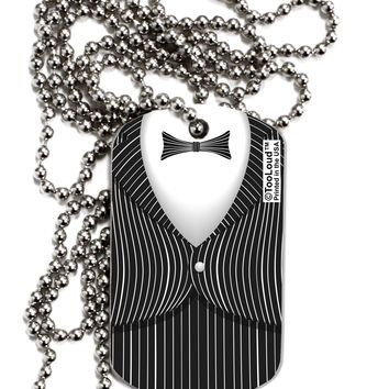 Skeleton Tuxedo Suit Costume Adult Dog Tag Chain Necklace