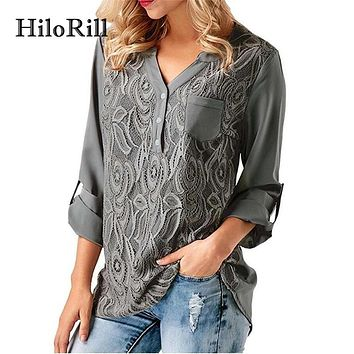 HiloRill Lace Chiffon Blouse 2018 Fashion Long Sleeve Womens Tops And Blouses Shirts Casual V Neck Office Lace Top Tunic Blusas
