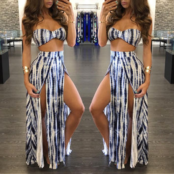 Gradient Bandier Bra and Side Slit Maxi Skirt