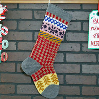 Christmas Stocking Hand Knit in Red and Taupe Houndstooth, Gold Trees, Fair Isle Knit, can be personalized, Wedding Gift, Housewarming Gift