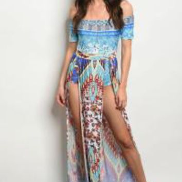 Short Sleeve Off the Shoulder Sexy Maxi Dress.