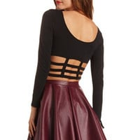 CAGED BACK LONG SLEEVE CROP TOP