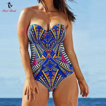 Ariel Sarah One Piece Swimsuit 2017 Large Size Swimwear Plus Size Swimsuit Women Colorful Bathing Suit Sexy Monokini XXXL Q232