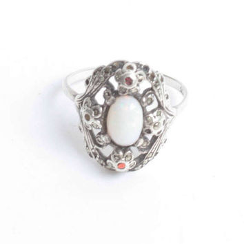 Vintage Opal Ring Garnets Marcasites Fancy Setting 935 Silver