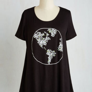 Boho Mid-length Short Sleeves A-line Fleur Corners of the Earth Top