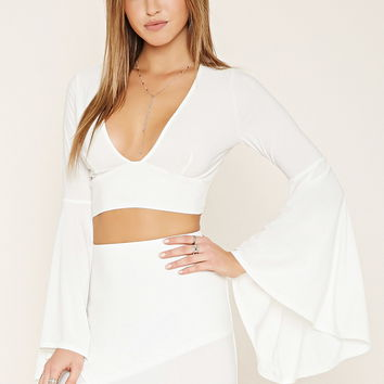 Bell Sleeve Crop Top | Forever 21 - 2000223046
