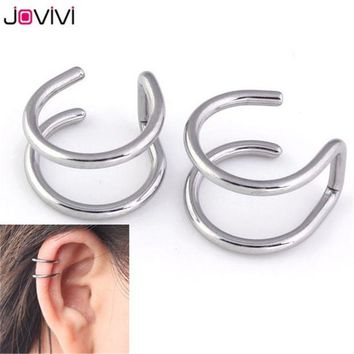 ac DCCKO2Q 1 Pair 16G Stainless Steel 2 Rings Ear Cuff Clip Women Men Fake Piercing Finti Black Rainble Silvery Dilataciones Falsas