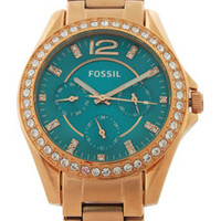 ES3385 Riley Multifunction Rose-Tone Stainless Steel Watch by Fossil (Women)