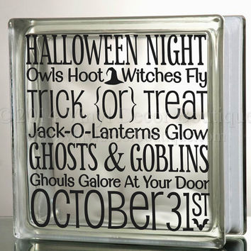 Halloween night  Trick or Treat Glass Block Decal Tile Mirrors DIY Decal for Glass Blocks Halloween Night trick or Treat