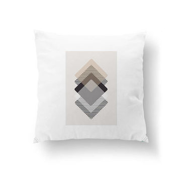 Brown Beige White, Decorative Pillow, Rhombus Pillow, Simple Art, Home Decor, Throw Pillow, Pastel Textures, Cushion Cover, Nordic Design