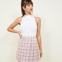 Pink Tarten Print Pleat Skirt | New Look