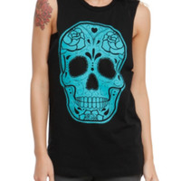 Black And Teal Sugar Skull Girls Muscle Top