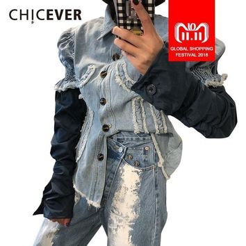 Trendy CHICEVER Patchwork Denim Jacket For Women Lapel Puff Sleeve Single Breasted Slim Female Jackets Autumn Fashion Clothing New 2018 AT_94_13