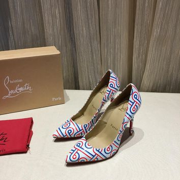 CL Christian Louboutin Women Trending Leather colorful High Heel Shoes Best Quality