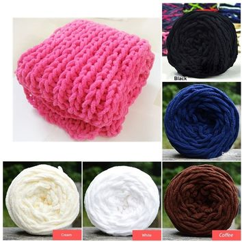 100g Pure Color Cute Soft Knitting Chunky Towelling Wool Ball Skein Scarf Yarn