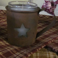 Rusty Tin Star Candle Holder Primitive Rustic Home Decor Rusty Baby Cup Votive Candle Holder