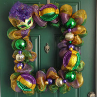 Mardi Gras Picture Frame Purple Green and Gold Deco Mesh Wreath