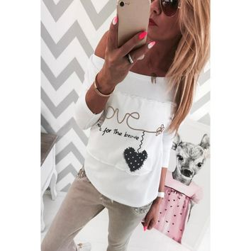 Fashion High Quality Womens T-Shirt Love Letter Print O-Neck Casual Long Sleeve Blouse Tops White Free Shipping #LSN