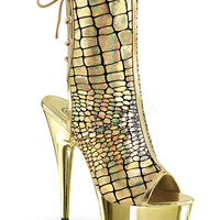 Gold Hologram Ostrich With Gold Platform-Stripper Shoes