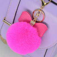 2016 New 8cm Keychain Rabbit Fur Quality Soft Fur Pom Pom Key Chain Faux Bulb Bag Accessories Fur Ball Pendant