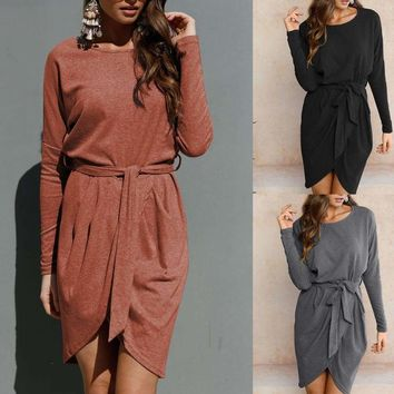 Womens Winter Bodycon Dress Ladies Long Sleeve Evening Party Cocktail Mini Dress