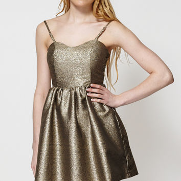 Shiny Patterned Mini Dolly Style Dress