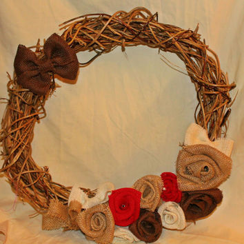 Grapevine wreath with cluster of roses & bow in Red or Pink Theme