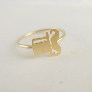 gold mustache ring