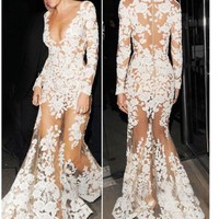 V-neck Long Sleeve Evening Dresses Appliques Lace Mermaid Long  Party Prom Gowns