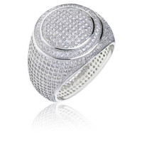 Silver Plated Band Double Round Style Pinky Ring
