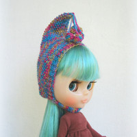 Blythe hat blue pink multicolor knitted hat for Blythe doll cap, blythe outfit, gnome hat, pixie hat, beanie