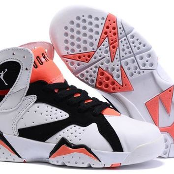 Nike Jordan Kids Air Jordan 7 Retro White/Black/Orange Kids Sneaker Shoe US 11C - 3Y