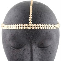 2 Pieces of Metallic Goldtone Circles Double Row Style Head Chain