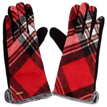 Red Plaid Smart Touch Gloves
