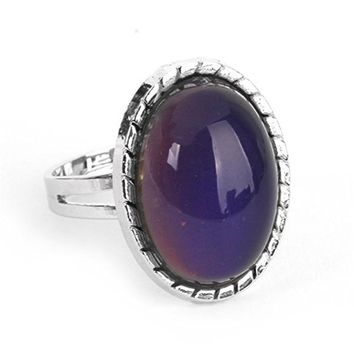 Silver metal band Change Color Oval Artificial Stone mood Ring Temperature control open Enamel color Feeling/Emotion rings