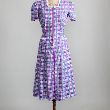 Vintage 1940s Purple Floral and Check House Dress