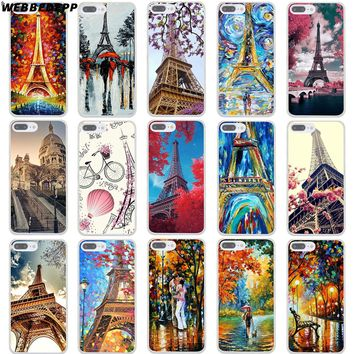 WEBBEDEPP Paris Eiffel Tower Hard Transparent Cover Case for iPhone 8 7 Plus 6 6s Plus 5 5S SE 5C 4 4S X/10