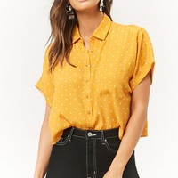 Dot Print Cropped Shirt