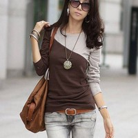 @Free Shipping@Ladies Cotton Coffee Top One Size H4830co from Voguegirlgo