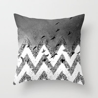 flying (black and white) Throw Pillow by Marianna Tankelevich
