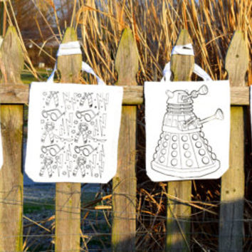 Color Your Own Tote Bag - I'm a f@cking unicorn, not here to please you Unicorn, c@nt cake, Sailor Moon, Harry Potter, & Dalek FREE SHIPPING