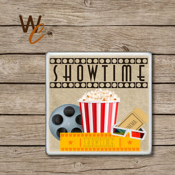 Drink Coaster, Retro Movie Handmade Ceramic Tile Coasters, SHOWTIME, Popcorn, Movie Tickets, Fun Cinema Theater Home Decor, Made To Order