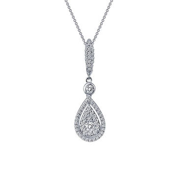 Lafonn Simulated Diamond Teardrop Cluster Necklace