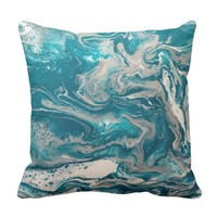 Turquoise Abstract Pillow with Gray back